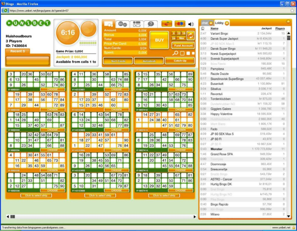 Bingo 1 Tg Unibet