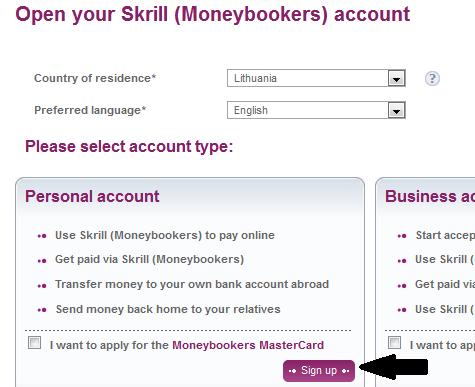 Moneybookers/Skrill sąskaitos atsidarymas